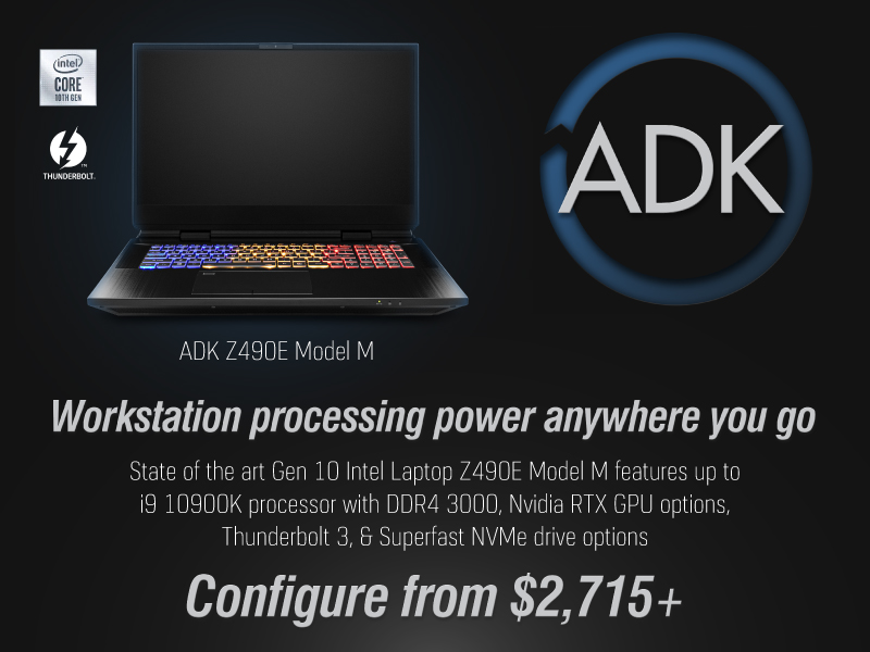ADK Z490E Model M. Mobile Audio and Video workstation with Desktop horsepower.